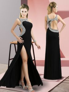 Amazing Beading Pageant Dress for Teens Black Backless Sleeveless Floor Length