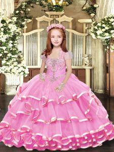 Lilac Lace Up Straps Beading and Ruffled Layers Little Girl Pageant Gowns Organza Sleeveless
