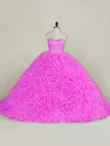 Deluxe Lilac Sleeveless Organza Chapel Train Lace Up Ball Gown Prom Dress for Sweet 16 and Quinceanera