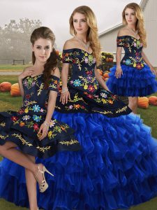 Organza Sleeveless Floor Length Quinceanera Dress and Embroidery and Ruffled Layers