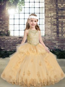 Fashionable Champagne Tulle Lace Up Little Girl Pageant Gowns Sleeveless Floor Length Appliques
