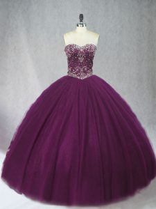 Sweetheart Sleeveless Lace Up Sweet 16 Quinceanera Dress Dark Purple Tulle