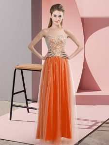 Comfortable Sweetheart Sleeveless Tulle Prom Dresses Beading Lace Up