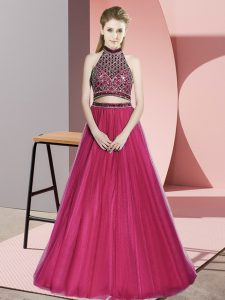 On Sale Hot Pink A-line Tulle Halter Top Sleeveless Beading Backless Evening Gowns