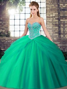 Turquoise Tulle Lace Up Sweetheart Sleeveless Quinceanera Dresses Brush Train Beading and Pick Ups