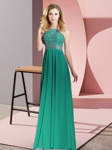 Luxurious Dark Green Empire Chiffon Scoop Sleeveless Beading Floor Length Backless Prom Party Dress