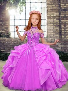 Adorable Ball Gowns Pageant Dress for Teens Lilac High-neck Organza Sleeveless Floor Length Lace Up