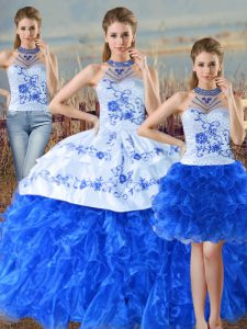 Blue And White Halter Top Neckline Embroidery and Ruffles Ball Gown Prom Dress Sleeveless Lace Up