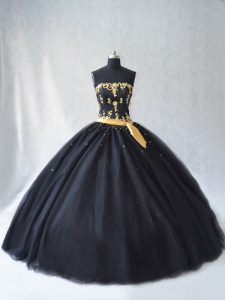 Decent Floor Length Black Sweet 16 Quinceanera Dress Tulle Sleeveless Appliques