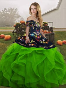 Green Sleeveless Floor Length Embroidery and Ruffles Lace Up Sweet 16 Dresses