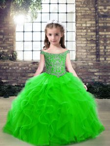 Latest Green Sleeveless Beading Floor Length Pageant Gowns