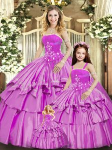 Admirable Sleeveless Beading and Ruffled Layers Lace Up Quinceanera Gown
