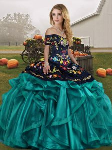 Teal Sleeveless Floor Length Embroidery and Ruffles Lace Up Quince Ball Gowns