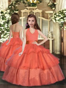 Eye-catching Orange Red Lace Up Halter Top Ruffled Layers Little Girls Pageant Dress Organza Sleeveless