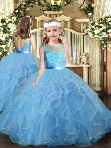 Baby Blue Ball Gowns Tulle Scoop Sleeveless Ruffles Floor Length Backless Child Pageant Dress