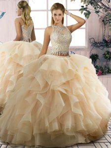 Champagne Sleeveless Tulle Lace Up Quinceanera Dresses for Sweet 16 and Quinceanera