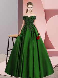 Chic Green Off The Shoulder Neckline Lace Quinceanera Gowns Sleeveless Zipper
