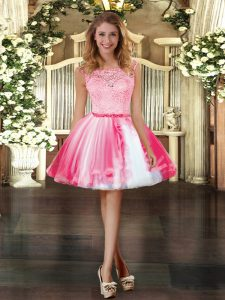Clearance Mini Length Zipper Prom Dresses Coral Red for Prom and Party with Lace