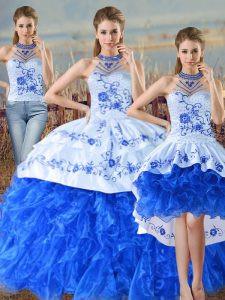 Stunning Blue And White Halter Top Neckline Embroidery and Ruffles Quinceanera Dress Sleeveless Lace Up