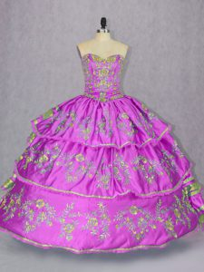 Lilac Sleeveless Embroidery and Ruffled Layers Floor Length 15 Quinceanera Dress