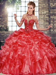 Coral Red Organza Lace Up Sweet 16 Dress Sleeveless Floor Length Beading and Ruffles