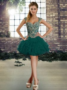 Deluxe Organza Straps Sleeveless Lace Up Beading and Ruffles Prom Party Dress in Dark Green