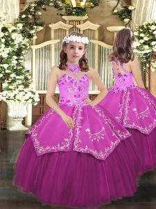 Floor Length Lilac Pageant Dress for Girls Halter Top Sleeveless Lace Up