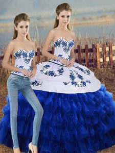Royal Blue Quinceanera Gown Military Ball and Sweet 16 and Quinceanera with Embroidery and Ruffled Layers and Bowknot Sweetheart Sleeveless Lace Up