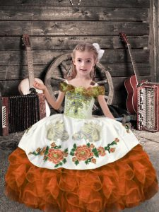 Sleeveless Organza Floor Length Lace Up Little Girls Pageant Dress in Orange Red with Beading and Embroidery and Ruffles