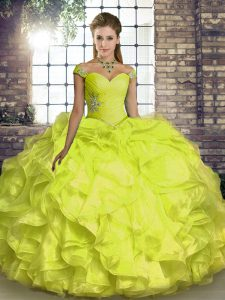 Yellow Ball Gowns Off The Shoulder Sleeveless Organza Floor Length Lace Up Beading and Ruffles 15th Birthday Dress