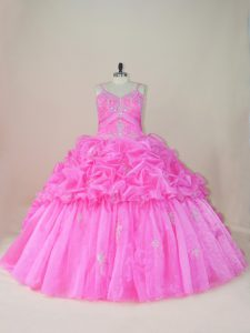Brush Train Ball Gowns Party Dress Wholesale Baby Pink Straps Organza and Taffeta Sleeveless Lace Up