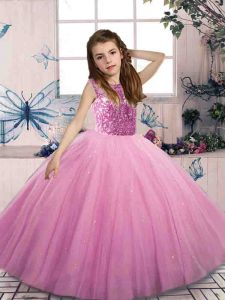 Adorable Sleeveless Floor Length Beading Lace Up Pageant Dress for Teens with Lilac