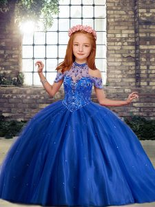 Royal Blue Lace Up High-neck Beading and Ruffles Pageant Gowns For Girls Sleeveless