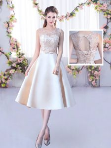Satin Scoop Sleeveless Lace Up Lace and Belt Quinceanera Court Dresses in Champagne