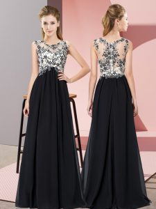 Floor Length Black Quinceanera Court of Honor Dress Chiffon Sleeveless Beading and Appliques
