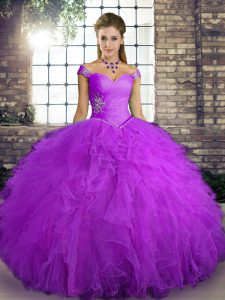 Fabulous Beading and Ruffles Party Dress for Toddlers Purple Lace Up Sleeveless Floor Length