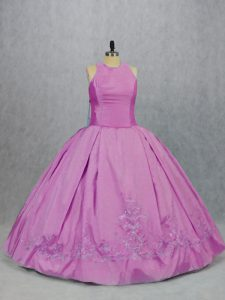 Scoop Sleeveless Satin Quinceanera Gowns Embroidery Lace Up