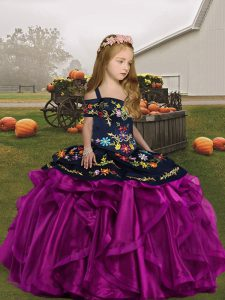 Graceful Sleeveless Floor Length Embroidery and Ruffles Lace Up Child Pageant Dress with Fuchsia
