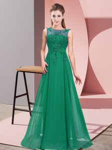 Dark Green Empire Chiffon Scoop Sleeveless Beading and Appliques Floor Length Zipper Dama Dress for Quinceanera