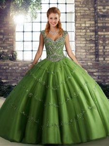 Beading and Appliques Ball Gown Prom Dress Green Lace Up Sleeveless Floor Length