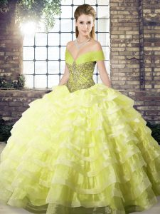 Glamorous Yellow Off The Shoulder Neckline Beading and Ruffled Layers Sweet 16 Dress Sleeveless Lace Up