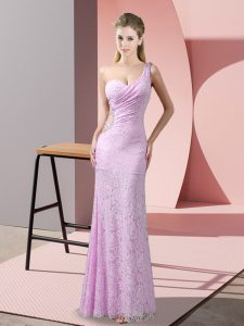 Popular Lilac Sleeveless Lace Criss Cross Prom Evening Gown for Prom and Party