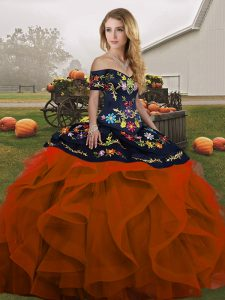 Rust Red Off The Shoulder Neckline Embroidery and Ruffles 15 Quinceanera Dress Sleeveless Lace Up