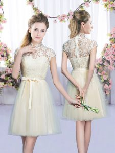 Great Champagne Empire Lace and Bowknot Quinceanera Court Dresses Lace Up Tulle Cap Sleeves Mini Length