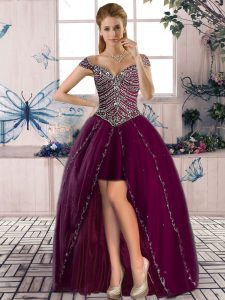 Glamorous Burgundy Sleeveless High Low Beading Lace Up Prom Gown
