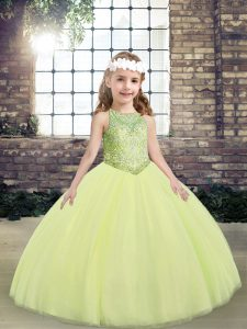 Light Yellow Ball Gowns Beading Pageant Dress for Teens Lace Up Tulle Sleeveless Floor Length