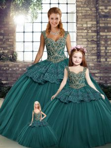 Cheap Green Lace Up Straps Beading and Appliques Quinceanera Gown Tulle Sleeveless