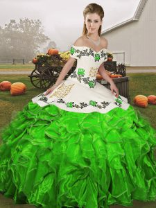 Eye-catching Off The Shoulder Sleeveless Lace Up Quinceanera Gown Green Organza