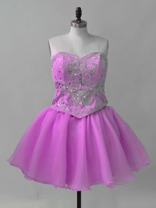 Lilac Club Wear Prom and Party with Beading Sweetheart Sleeveless Lace Up
