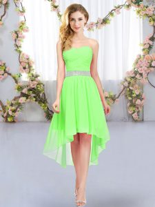 Belt Quinceanera Court Dresses Lace Up Sleeveless High Low